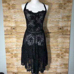 Free People black lace slip dress